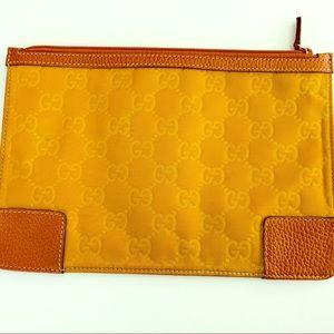 Gucci Nylon Leather  Zip Pouch Case